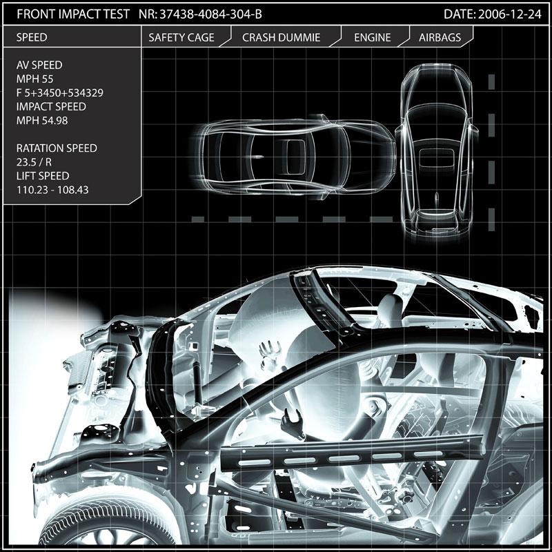 Virtual crash test of Volvo S40 at 55mph