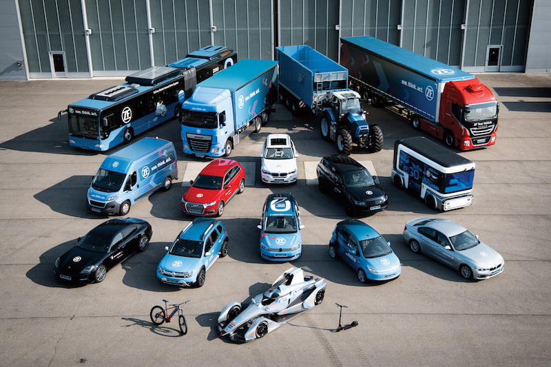 ZF electrification portfolio, with solutions from bicycles to cars, buses and trucks