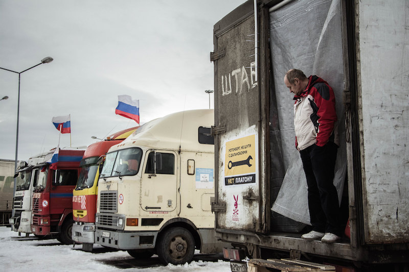 Russian truckers protest in St Petersburg, 2015