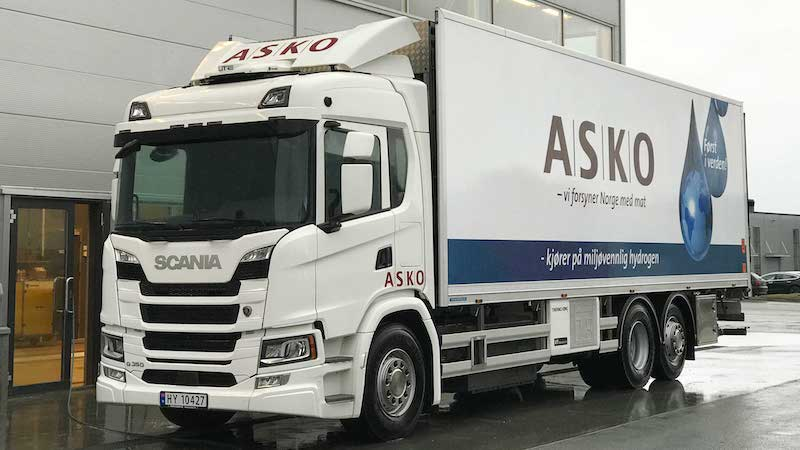 Scania hydrogen truck in ASKO trial