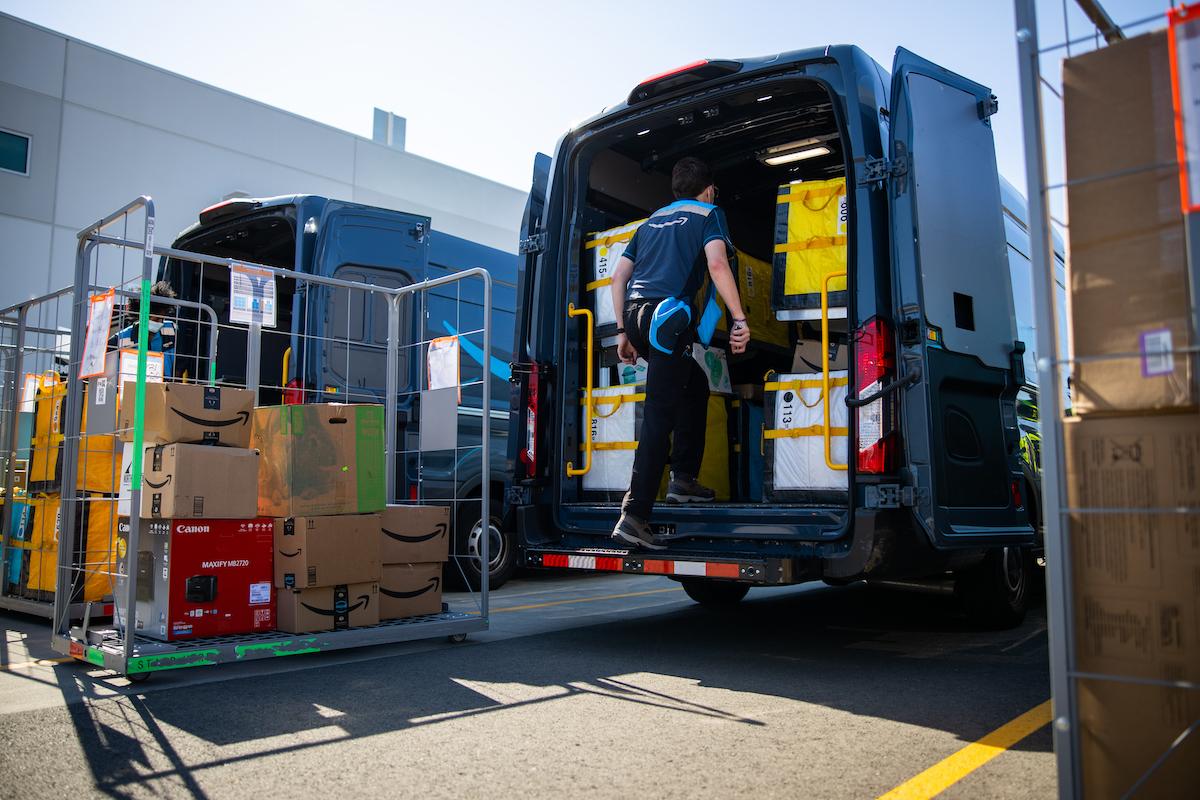Amazon Delivery driver loading van 2