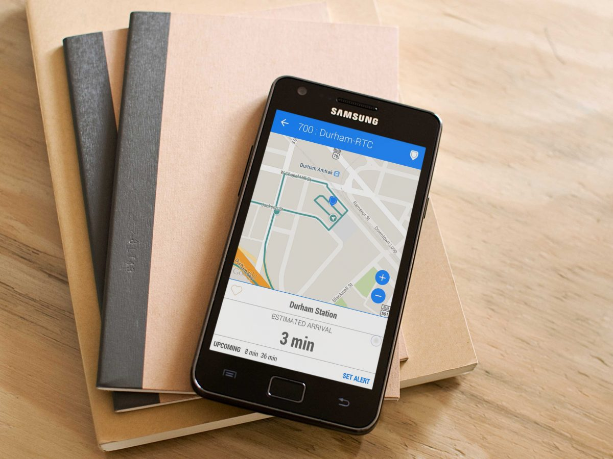 TransLoc transit app on Samsung Android phone